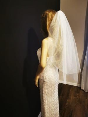 Welon ślubny krótki ślub biały gładki dwuwarstwowy