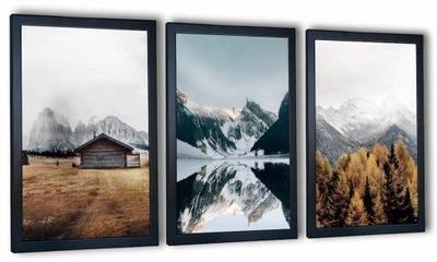 Nowoczesny zestaw 3 obrazów w ramie Motyw Gór