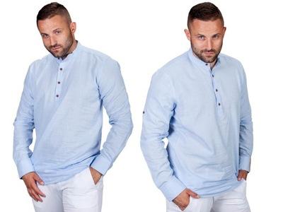 Koszula lniana bawełniana błękitna lato rozm. 4XL
