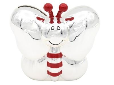 Pokladničky - Prasiatko strieborné Pozlátené Motýľ Dar Krstu Rytec
