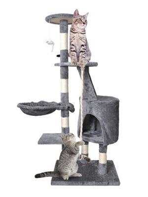 Veža pre mačky na strome, 118 cm, sivá škrabka na dom
