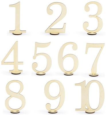 NUMERY DREWNIANE CYFRY NA STÓŁ WESELE NR 1-10