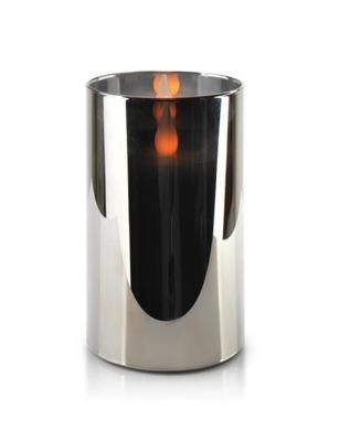 Świeca LED SALMA METALIC 7,5xh15cm w szkle