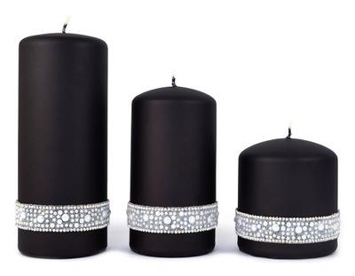 Свечи гламур черные Матовые украшения жемчуг