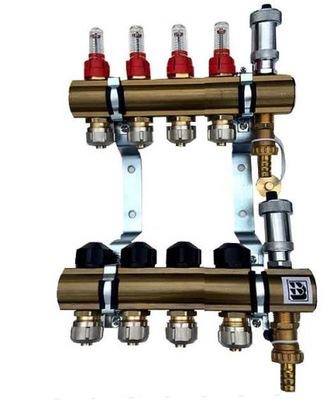 Mosadzné potrubie 4 prietokové upínacie ventily 624