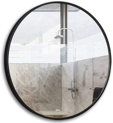 Lustro Okrągłe Ścienne Loft w Czarnej Ramie 60 cm