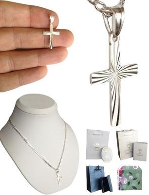 Łańcuszek Srebrny Męski Pancerka , Krzyżyk (Krzyż)