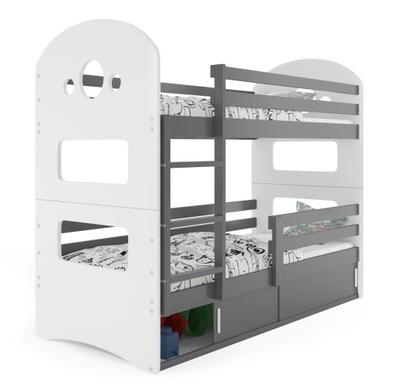 łóżko piętrowe Dominik 190x80 + stelaż+ materace
