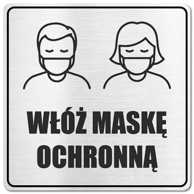Tabliczka BHP Dezynfekcja, Włóż maskę, rękawiczki