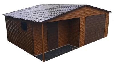Garaż Drewnopodobny Blaszany Garaże Blaszane 6x6