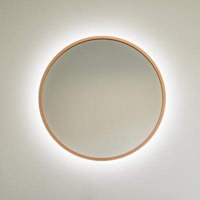 Kruhové zrkadlo, medený rám, 60 cm, LED