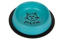 миска металлическая на резине для кошки Ноль ,24l синяя