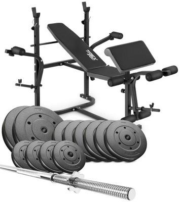 Kulturistická súprava 87 kg + lavička, rovná tyč