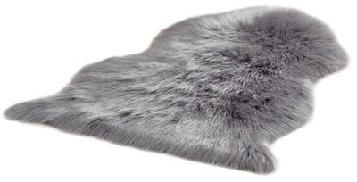 Коврик волосатый 60x90 светлый Серый искусственная кожа