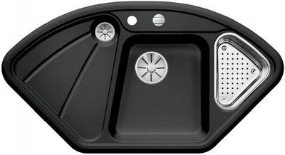 Čierne keramické rohové umývadlo BLANCO DELTA