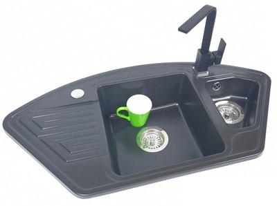 SET rohové žulové umývadlo + BATÉRIA kubický KVADRO