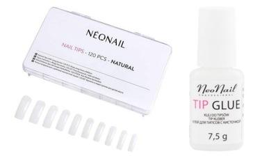 NeoNail Zestaw Tipsy Naturalne 120 sztuk + Klej