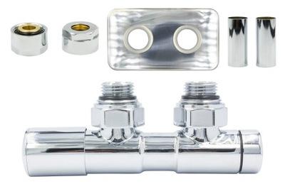 Regulačný ventil Dvojčatá 50 mm chróm + spojka Cu + rozety Vľavo