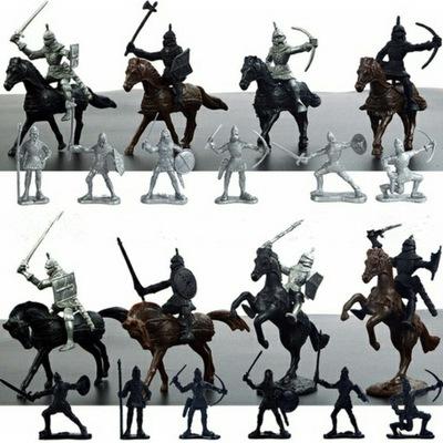 Zestaw figurek rycerzy średniowiecznych + konie