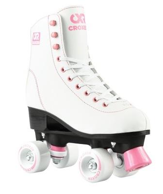 Klasické biele a ružové retro kolieskové korčule Croxer Lara 40