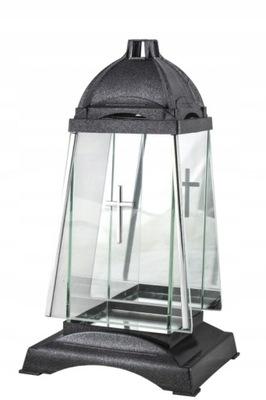 Znicz Kapliczka Szklany lampion z lustrem 31cm