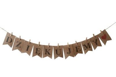 Надпись СПАСИБО, гирлянда из джута, бохо свадьба