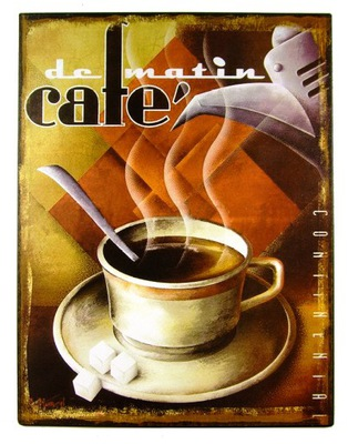 Cafe de Matin - Kungl - металлический ретро плакат