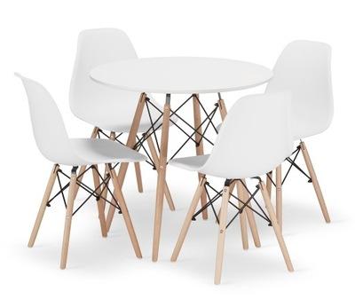 Stół + 4 Krzesła Nowoczesny Skandynawski Styl DSW