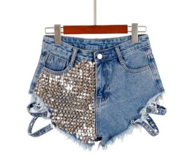 SZ6 Bardzo krótkie spodenki jeansowe z ćwiekami L