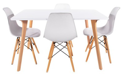 Zestaw Stół DOS + 4 Krzesła TOLV Skandynawski Styl