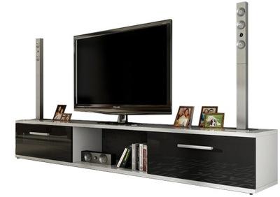 Тумба RTV комод под ТВ большая белая черная блеск
