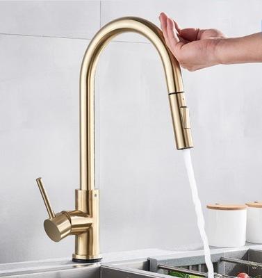 Indukčný zlatý kuchynský faucet.