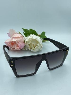 Okulary duże Oversize proste Glamour Czarne BLACK