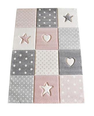 Dywan dla dziewczynki 160x230 Gwiazdy 3D dziecięcy