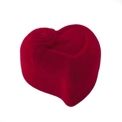 Pudełko prezentowe welurowe na kolczyki serce róża