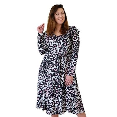 Rozkloszowana sukienka w panterkę rozmiar 52/54