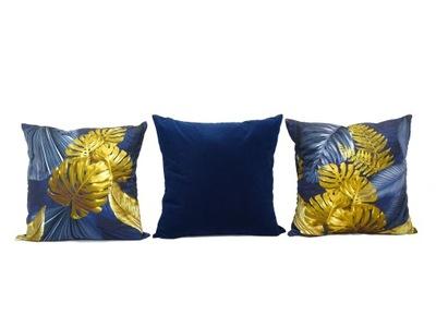3 poduszki granatowo żółty wzór