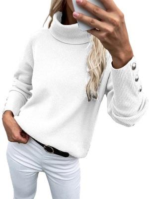 Luźna i Modny Sweter Z Golfem W Duży Rozmiar
