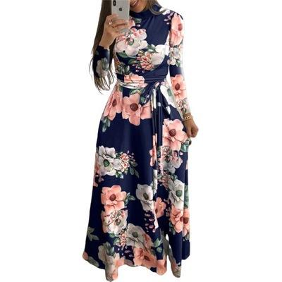 Sukienka w kwiaty maxi wiązana PLUS SIZE 3XL 46