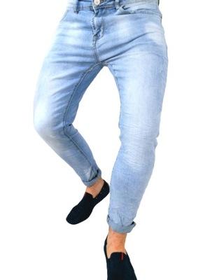Spodnie męskie jeans błękitne slim ErnestoMen M 38