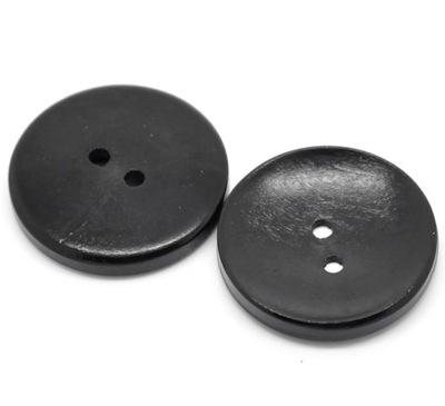 2szt drewniane gładkie guziki guzik 30mm czarne