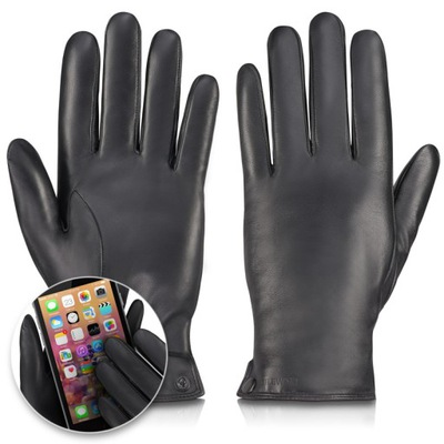 BETLEWSKI Męskie rękawiczki ze skóry ciepłe XL