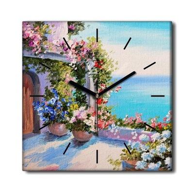 Zegar ścienny na ramie Dom Kwiaty Góry Woda 30x30
