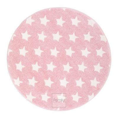 Dywan okrągły fi 120 różowe Gwiazdki Art. 506