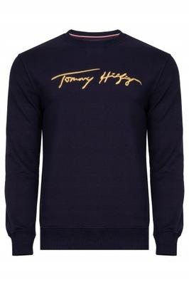 Tommy Hilfiger bluza męska granatowa złoty haft