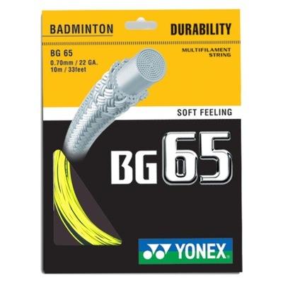 Naciąg badminton Yonex BG 65 0,70mm Żółty SET