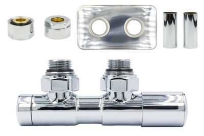 Regulačný ventil Dvojčatá 50 mm chróm + spojka Cu + rozety Pravá