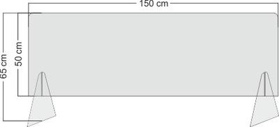 Pleksa osłona na ladę 150x50x65 pleksi 3mm