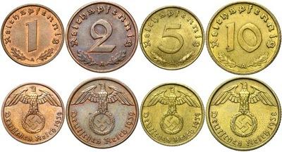 III Rzesza zestaw 1 2 5 10 Reichspfennig 1936-1940