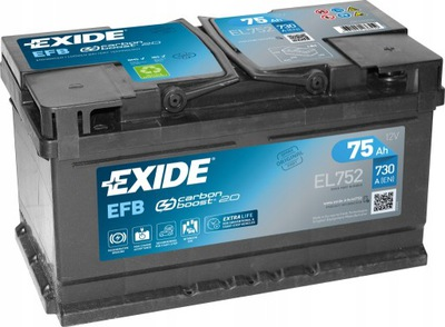 EXIDE EL752 EFB 75Ah 730A START-STOP FORD